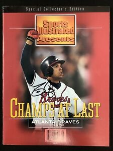 David Justice Signed Sports Illustrated 1995 WS Edition Braves No Label Auto JSA