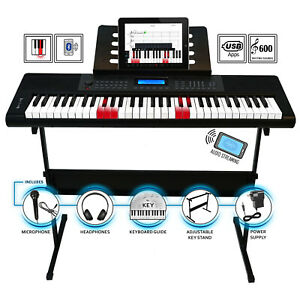 Beginner Student 61 Backlit Keys Piano Keyboard LCD USB Bluetooth