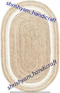 Oval Natural Jute Braided Weave Rug Area Rug Handmade Floor Carpet Jute Room Rug