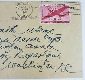 Oliver Prince O P Smith USMC WWII Stamped Envelope August 17 1942 Joseph C Fegan