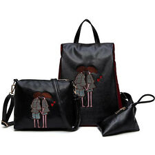 Women Leather Satchel Backpack +Shoulder Bag +Coin Purse Rucksack Laptop Bag
