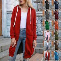 Womens Long Sleeve Zip Up Hooded Hoodie Jacket Jumper Cardigan Coat Plus Size LI