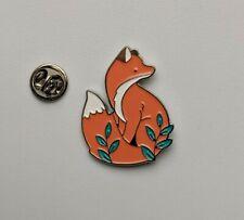 Animal Fox cute woodland flowers silver PIN brooch enamel US SELLER