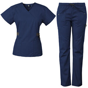 Medgear Women's 12-Pocket Scrub Set with Silver Snap Detail & Contrast Trim 7897