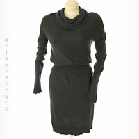 DAISY FUENTES Women's LARGE Charcoal Heather GRAY Cowl Neck KNIT DRESS