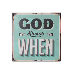 "Retro Wall Decor Vintage Finish God Knows When Theme Tin Sign 12""X12"" Bar Decor"