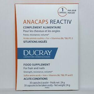 Ducray Anacaps Reactive 30 Gel Capsules -Reactiv - Anti-Hair Loss - Hair & Nails