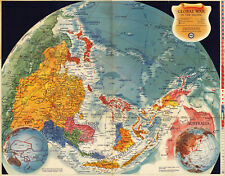 WWII Map Global War in the Pacific Naval Air Bases Military World War 2 Poster