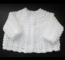 Hand knitted  baby Cardigan newborn ( white)