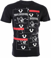 TRUE RELIGION Mens T-Shirt BUDDHA TAPE Black with White Red Print $69 Jeans NWT