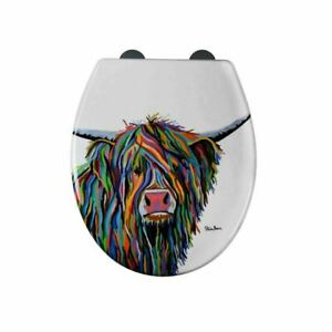 Croydex Soft Close Toilet Seat with Angus McCoo Highland Cow Art by Steven Brown