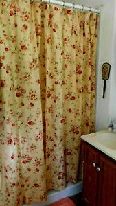 Waverly- Harbor House Rose Sonata Fabric Shower Curtain-100% Cotton-