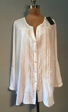 """LOOSE FITTING FLOATY IVORY RAYON TOP WITH LACE TRIMS 53"""" B"""