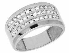 10K White Gold Genuine Diamond Mens 3 Row Channel Wedding Band Ring 1/2 CT 11MM