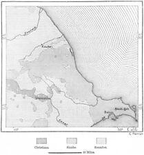 Caucaso. shiahs sunniti e Caucasia, Schizzo Mappa c1885 Vecchio Antico Grafico