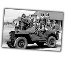 "War Photos Nice pin up girls on jeep willys Ww2 Glossy Size ""4 x 6"" inch R"