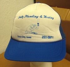 STULTZ PLUMBING AND HEATING trucker cap IOWA cartoon hat Sioux City pipesmoker