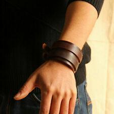 Punk Mens Women Wide Leather Bracelet Bangle Wristband Adjustable Cuff Wristband