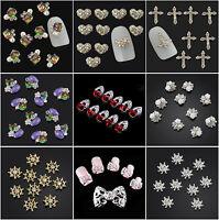 10PCS 3D Fashion Nail Art Decoration Alloy Pearl Jewelry Glitter Rhinestone JT21