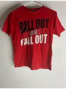 Old Navy Active Boys Graphic T Shirt Red Black Crew Neck Cotton Blend Tee L