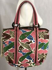 ca4493fc86 American Eagle Outfitters Pink Blue Brown Leather   Canvas Handbag