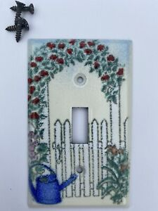 Adrienne Blum Enamel Climbing Roses Picket Fence Light Switch Cover County Decor