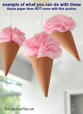 50 Kraft Paper Cones Favor Bags Wedding CANDY BAR Ice Cream Birthday Baby Shower