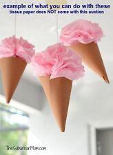 50 Kraft Paper Cones Favor Bags Wedding CANDY BAR Ice Cream Birthday Baby Shower