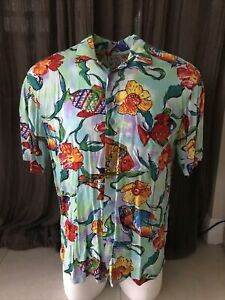 Vintage Jams World Hawaiian Shirt Colorful Rare Fish Design Mens M