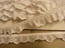 Broderie Anglaise Gathered Lace  White (3114) x 5 mts