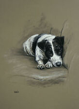"""Terrier Jack Russell dog Le mounted art print 'In My Spot' by H Irvine 16""""x12"""""""