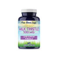 Milk Thistle 500 MG Liver Support Veggie Dietary Supplement (60 Capsules)