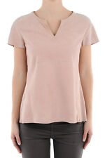 DROME New Woman Pink LAMB LEATHER Embellished Short Sleeve T-Shirt Top Tee Sz S