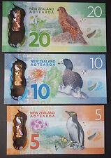 """NEW ZEALAND""$5,$10,$20""POLYMER GEM UNC CONSECUTIVE BANKNOTES""1 SET 3 PIECES"""