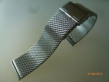 Milanaise Uhrenarmband, Edelstahl 22 mm silberfarben Faltschließe Quick Release