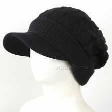 brim BEANIE visor man woman top winter Hats Unisex ski snowboard Cap NwB black