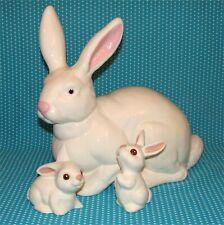 Vtg Large Ceramic White Easter Bunny & Babies Family Handmade Rabbit Figures