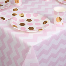 PINK AND WHITE TABLE COVER - BABY SHOWER / PARTY