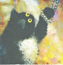 1 Lunch Papier Serviette Napkin (BP681) Katze spielt mit Perlenkette