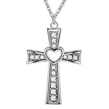 Collana con Pendente Croce di Cristallo 925 Sterling Placcato Catena Donna Lady Rosario Gesù