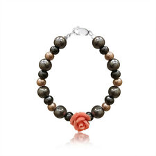Baby Infant Toddler  Pearl & Coral Rose Handmade Jewelry Bracelet
