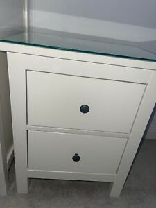 IKEA Hemnes 2 Drawers Bedside Table white stain with glass top