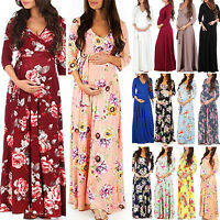 Pregnant Womens Floral Boho Wrap Nursing Maxi Dress Casual V Neck Maternity Gown
