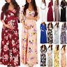 Pregnant Womens Floral Boho Wrap Nursing Maxi Dress Casual V Neck Maternity Gown