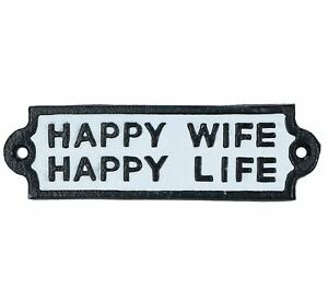 Happy Wife Happy Life Cast Iron Sign Plaque Wall Door Fence Gate Post House
