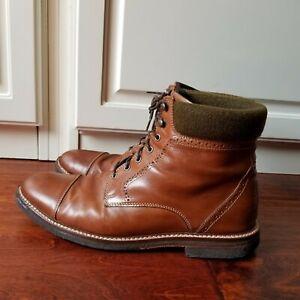 Johnson Murphy J&M 1850 Brown Cap Toe Ankle Boots Genuine Crepe Sole Size 11.5 M