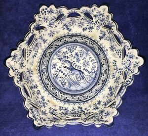 Coimbra Portugal Ceramic Footed Hexagon Bowl Dish white hand-painted blue 6 feet