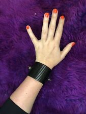 Genuine Leather Black All Saints Bracelet Cuff With Silver Studs