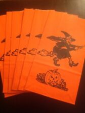 "SET OF 6 ORANGE HALLOWEEN 12"" CANDLE BAGS w/WITCH ON BROOM & PUMPKIN"