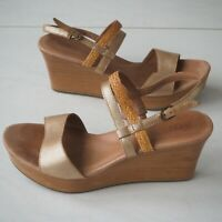 Genuine UGG Ladies Tan / Gold Coloured Leather Wedge Heel Sandals size UK 7 / 40